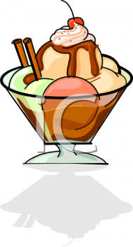 Royalty Free Clip Art Image: Dish of Sorbet with Whipped Topping.