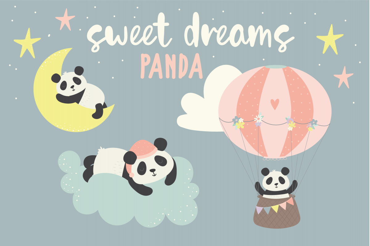 Sweet Dreams Panda, clipart and paper pack.