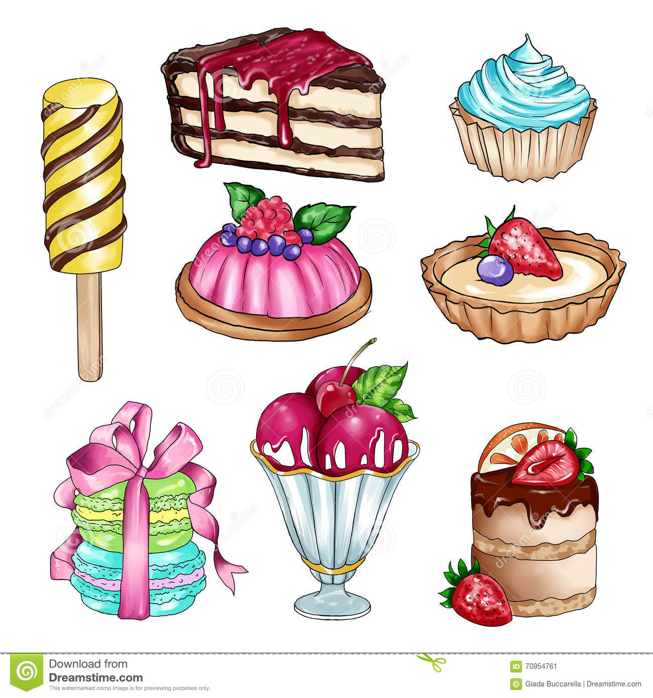 Raster Illustration With Different Sweet Food Stock Illustration.