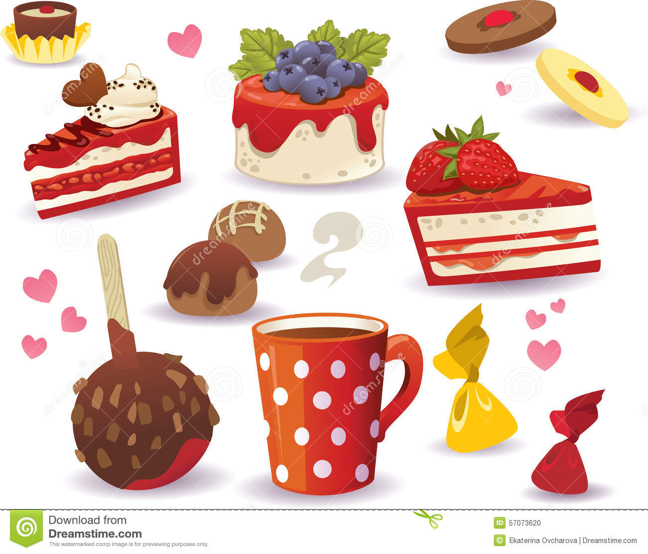 Set Of Cakes And Other Sweet Food, Isolated On White Background.