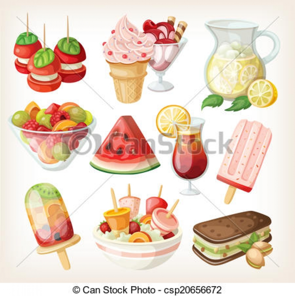 stock illustrations of set of cold sweet summer food and snacks.