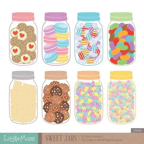 Sweet Jars Digital Clipart, Cookie Jar Clipart, Candy Jar.