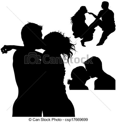 EPS Vectors of Sweet Kiss Silhouettes.