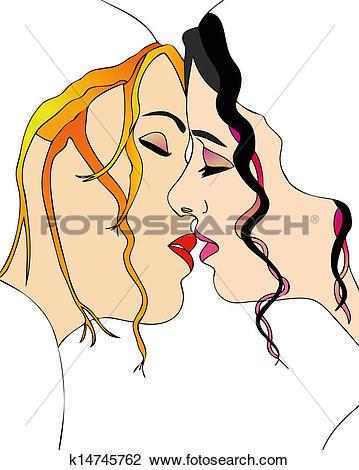 Clip Art of A sweet kiss between women k14745762.