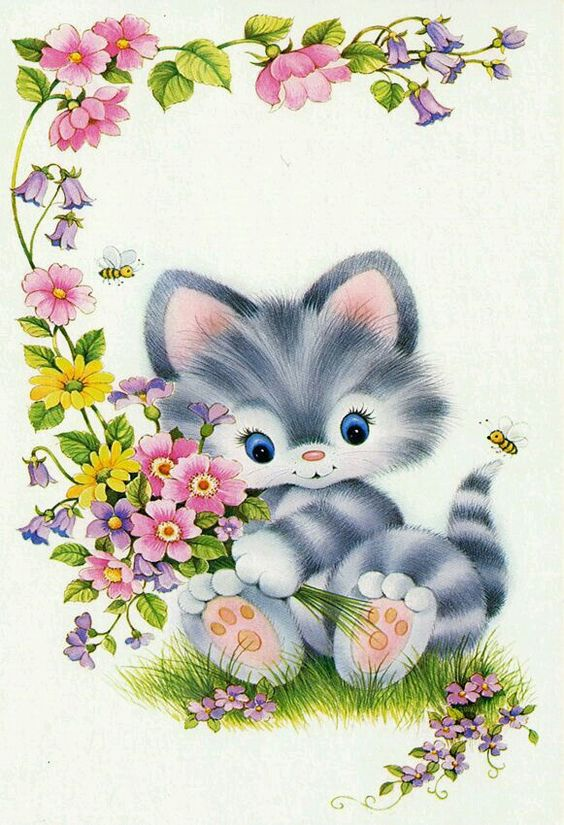 Sweet kitten illustration. Gatinho cinza.
