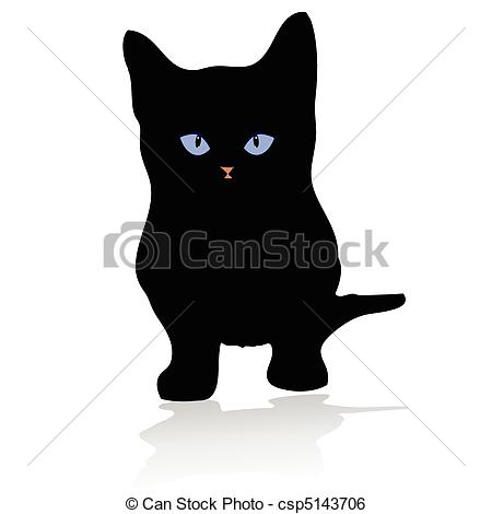 Clip Art Vector of sweet little kitten with blue eye vector.
