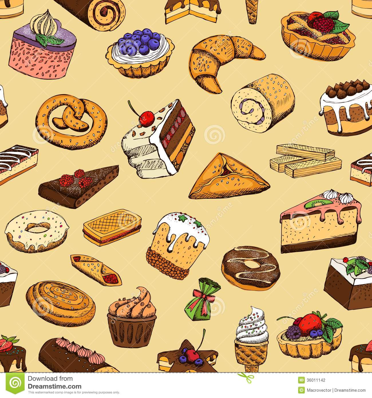 Seamless Sweet Pastries Stock Photography.