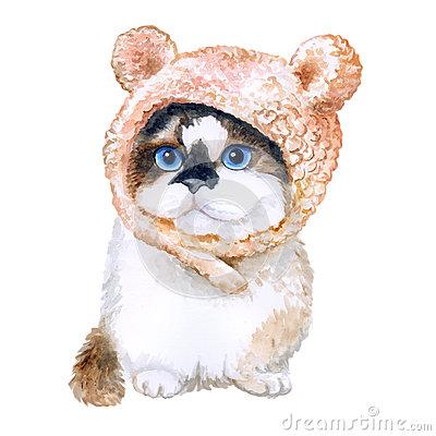 Watercolor Portrait Of Cute Kitten In Hat With Ears On White.