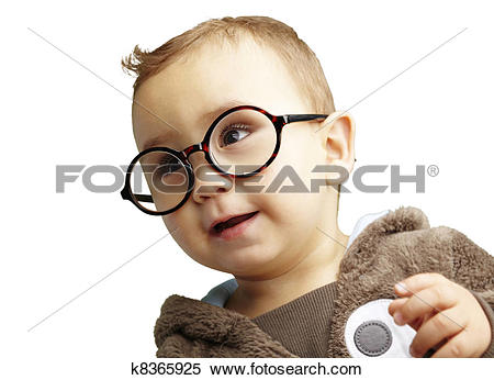 Stock Image of portrait of sweet kid wearing round glasses over.