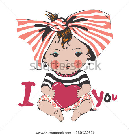 Portrait Sweet Little Baby Girl Heart Stock Vector 350422631.