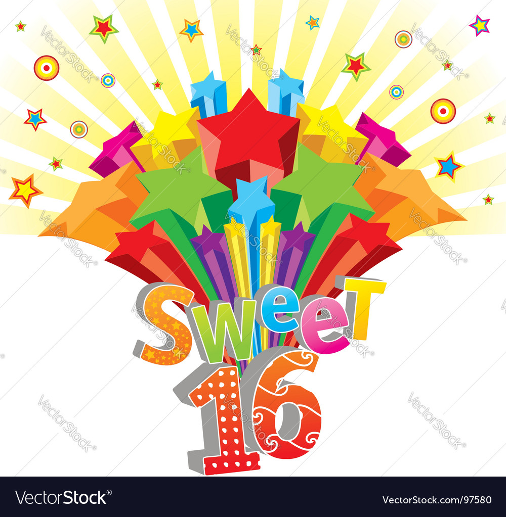 Sweet sixteen Royalty Free Vector Image.