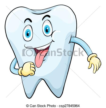 Clip Art Vector of Sweet tooth with a face on a white background.
