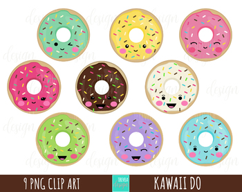 DONUTS clipart, food clipart, sweet treats clipart, kawaii clipart, kawaii  donut.