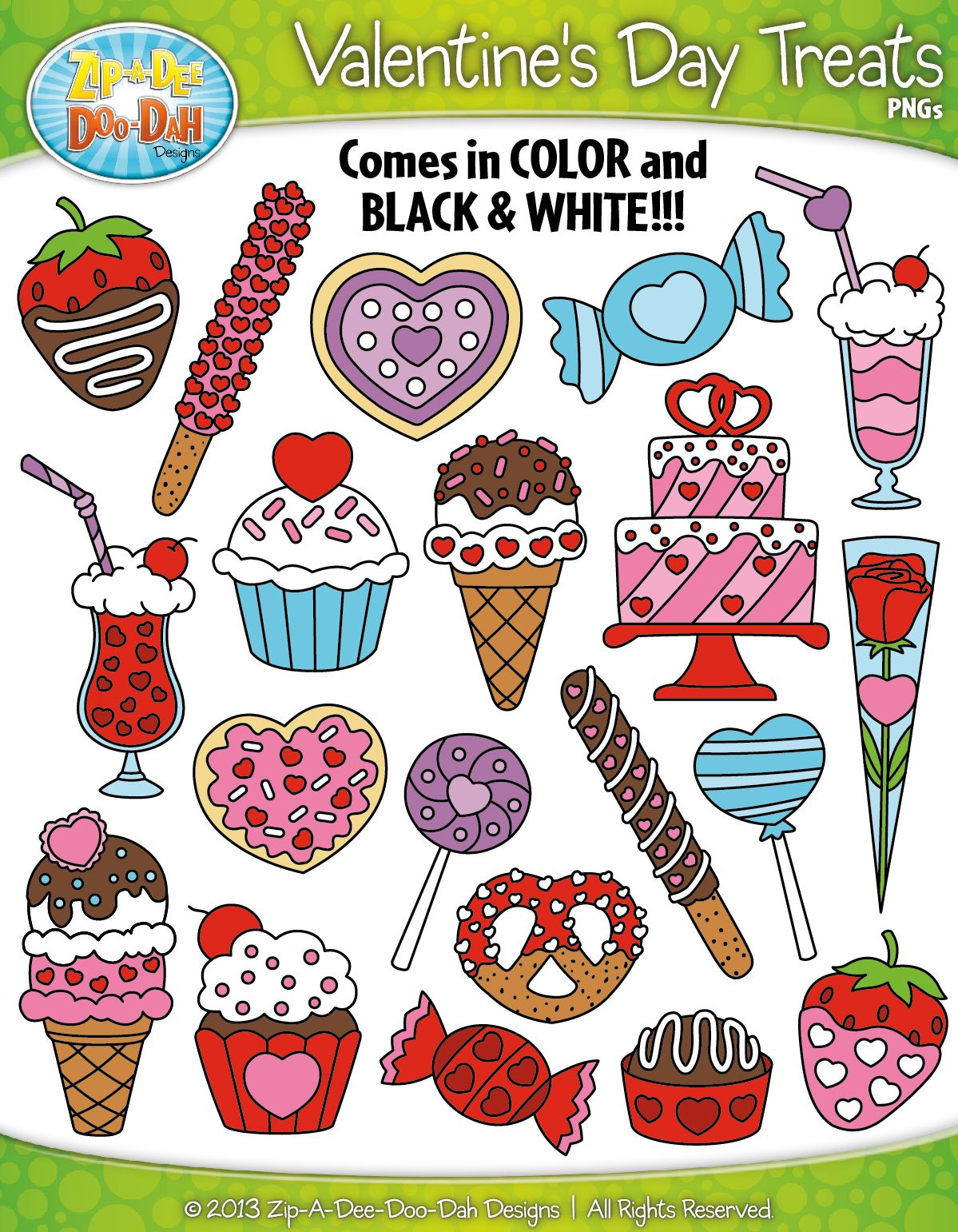 Valentine\'s Day Sweet Treats Clipart {Zip.