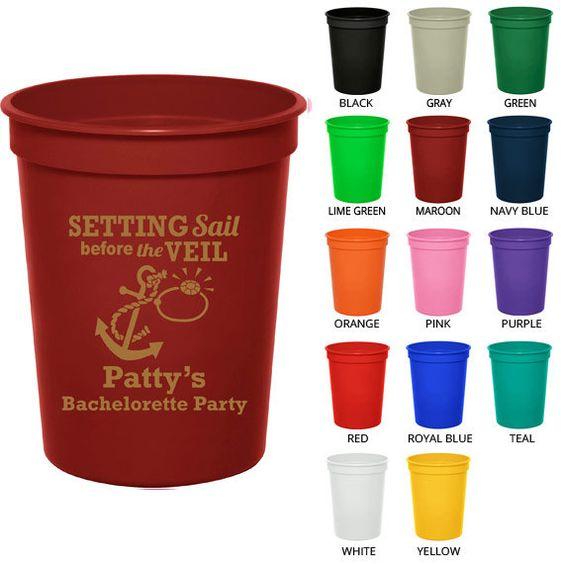 16 oz Bachelorette Party Favor Cups (Clipart 6060) Setting Sail.