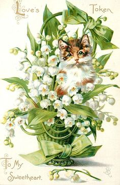 vintage postcard with Lily of the Valley ~ 1908.