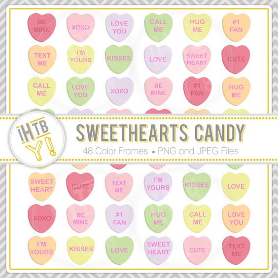 Valentine's Day Clipart, Sweethearts Candy Clip Art, Conversation.