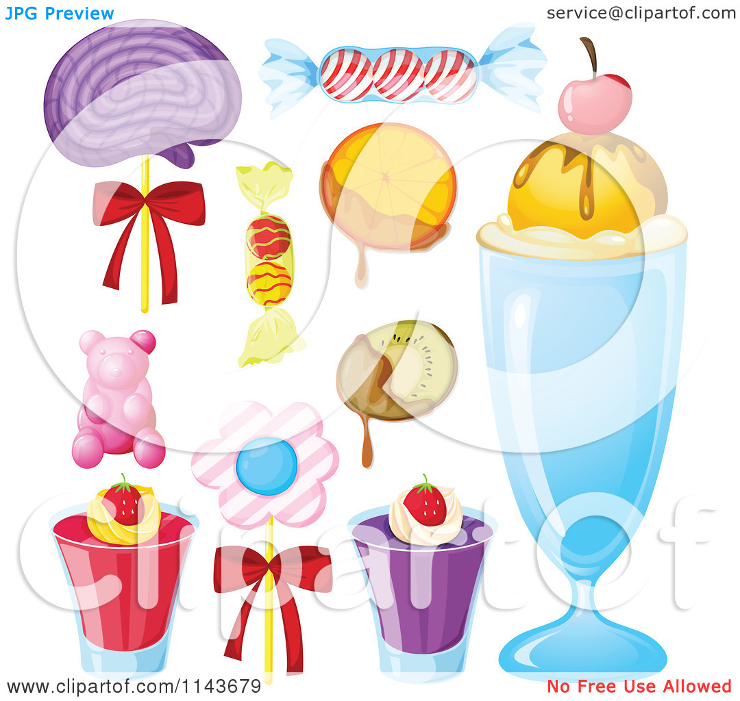 Cartoon Of An Assortment Of Sweets And Desserts 11.