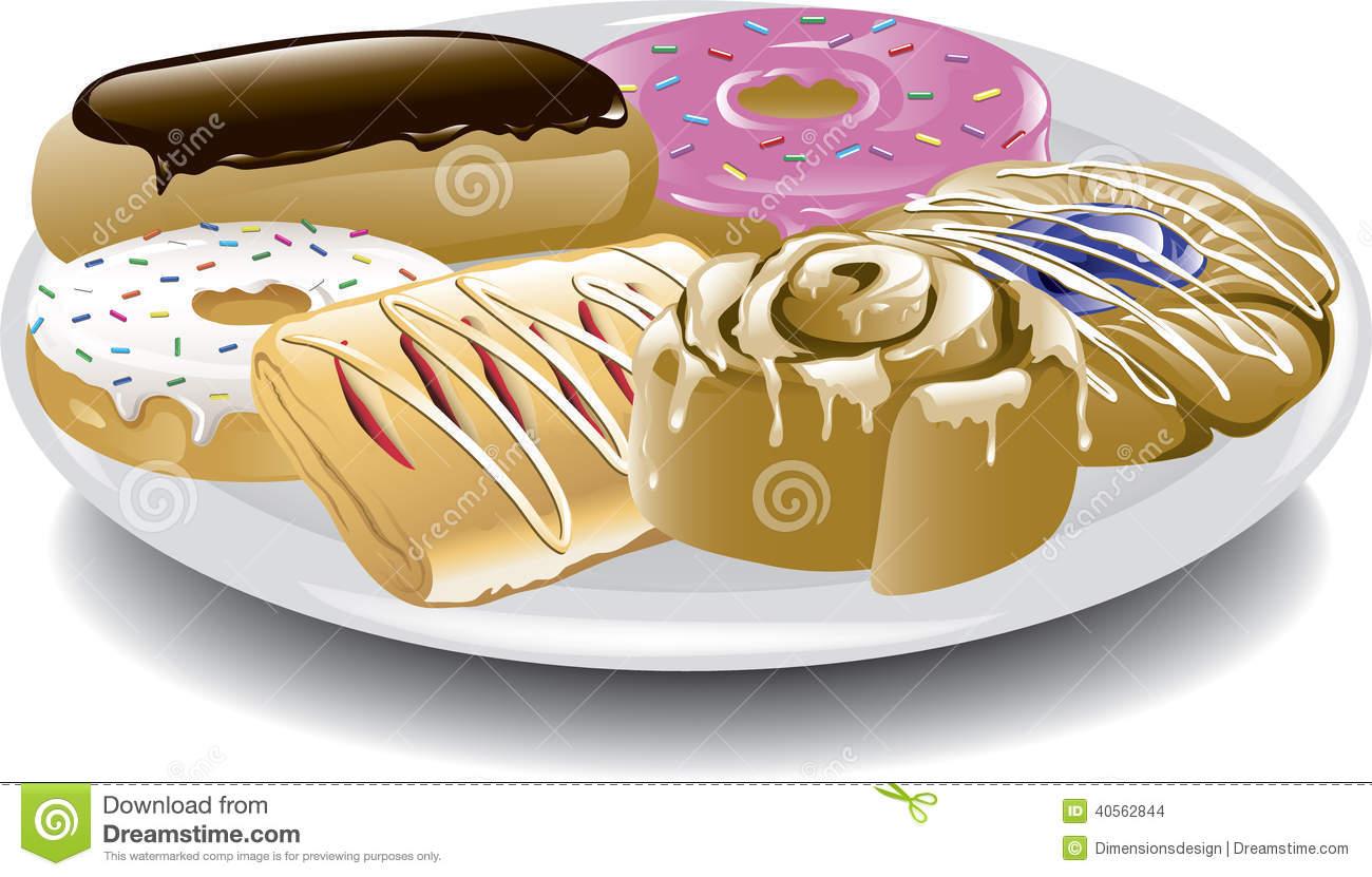 Assorted Breakfast Sweets Stock Vector.