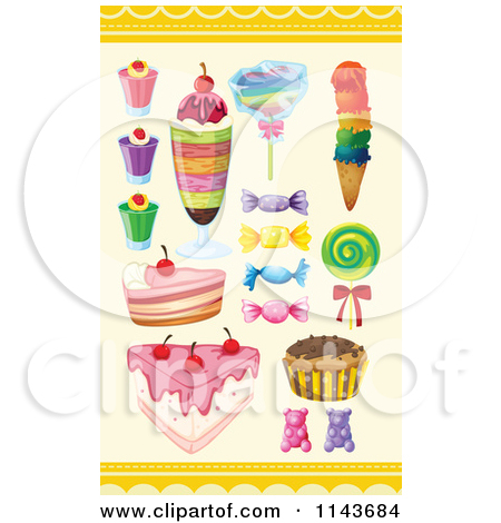 Cartoon Of An Assortment Of Sweets And Desserts 6.