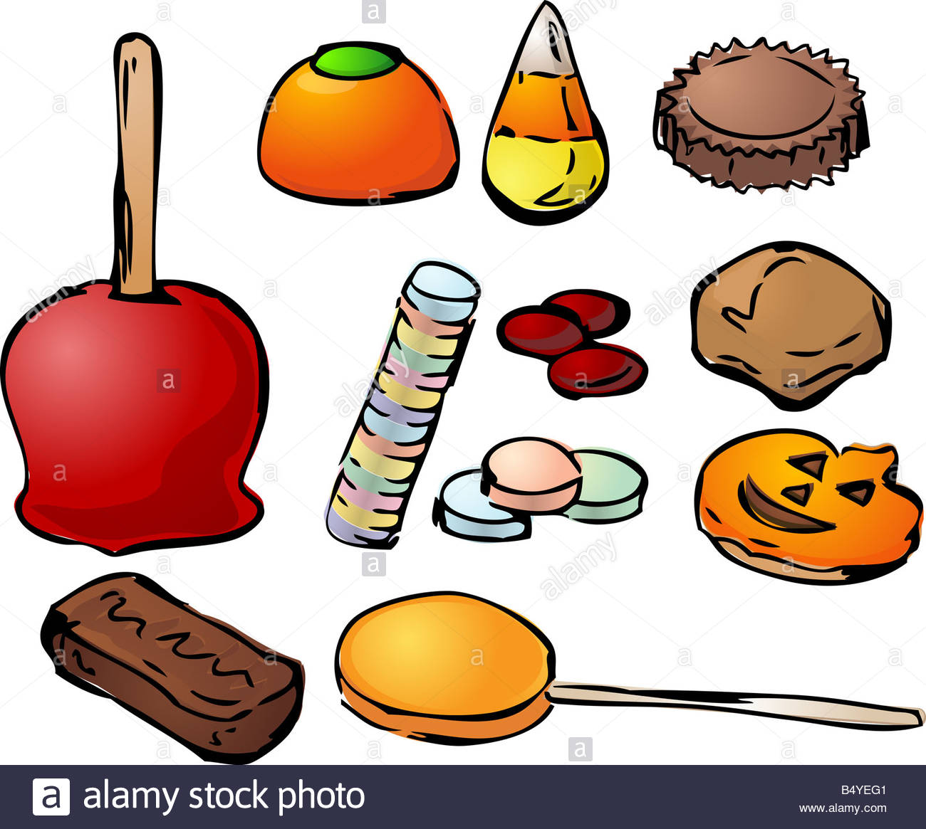 Halloween sweets candy assorted illustration icons clipart Stock.