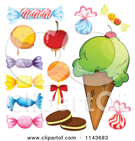 Cartoon Of An Assortment Of Sweets And Desserts 9.