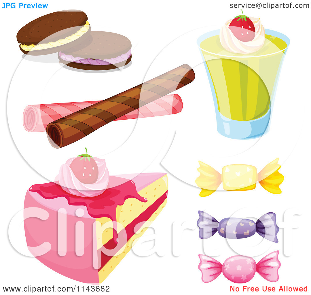 Cartoon Of An Assortment Of Sweets And Desserts 2.