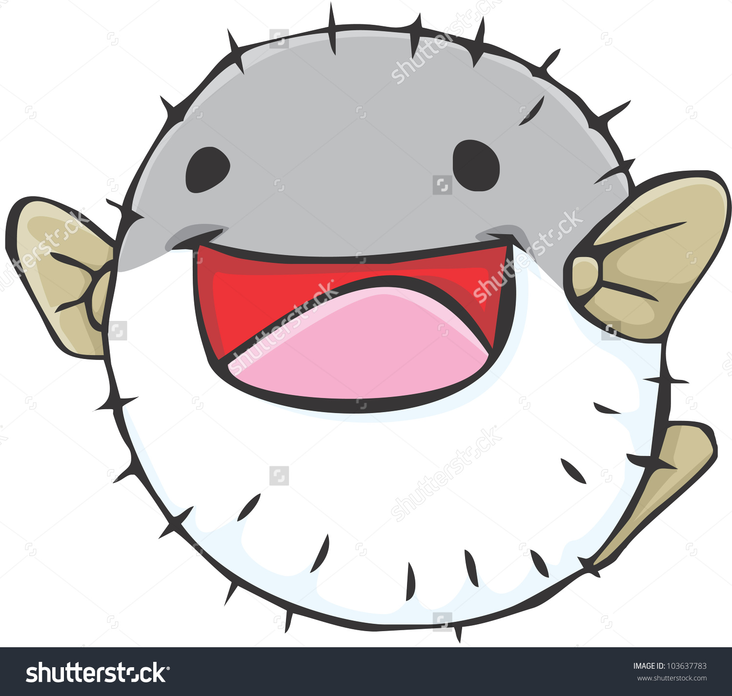 Happy Puffer Fish Cartoon Stock Vector 103637783.