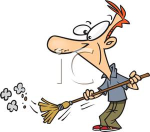 Colorful Cartoon of a Man Sweeping Dirt with a Broom.