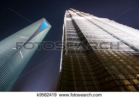 Stock Photograph of SWFC and Jin Mao Tower in the evening k9562419.