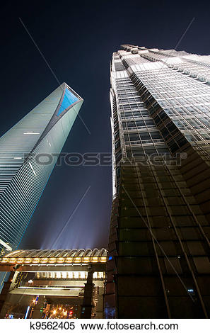 Stock Image of SWFC and Jin Mao Tower At Night k9562405.