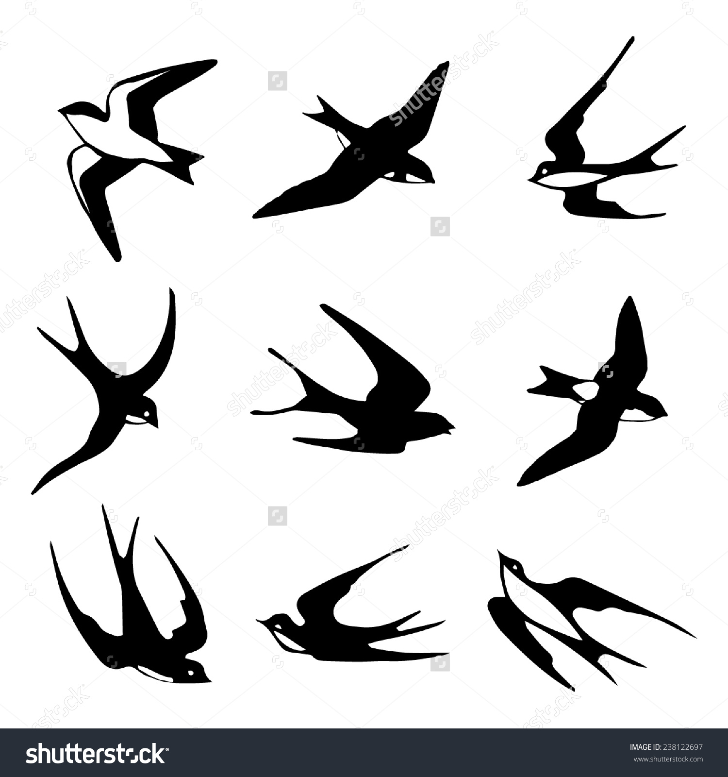 Set Black Isolated Vector Silhouettes Birds Stock Vector 238122697.