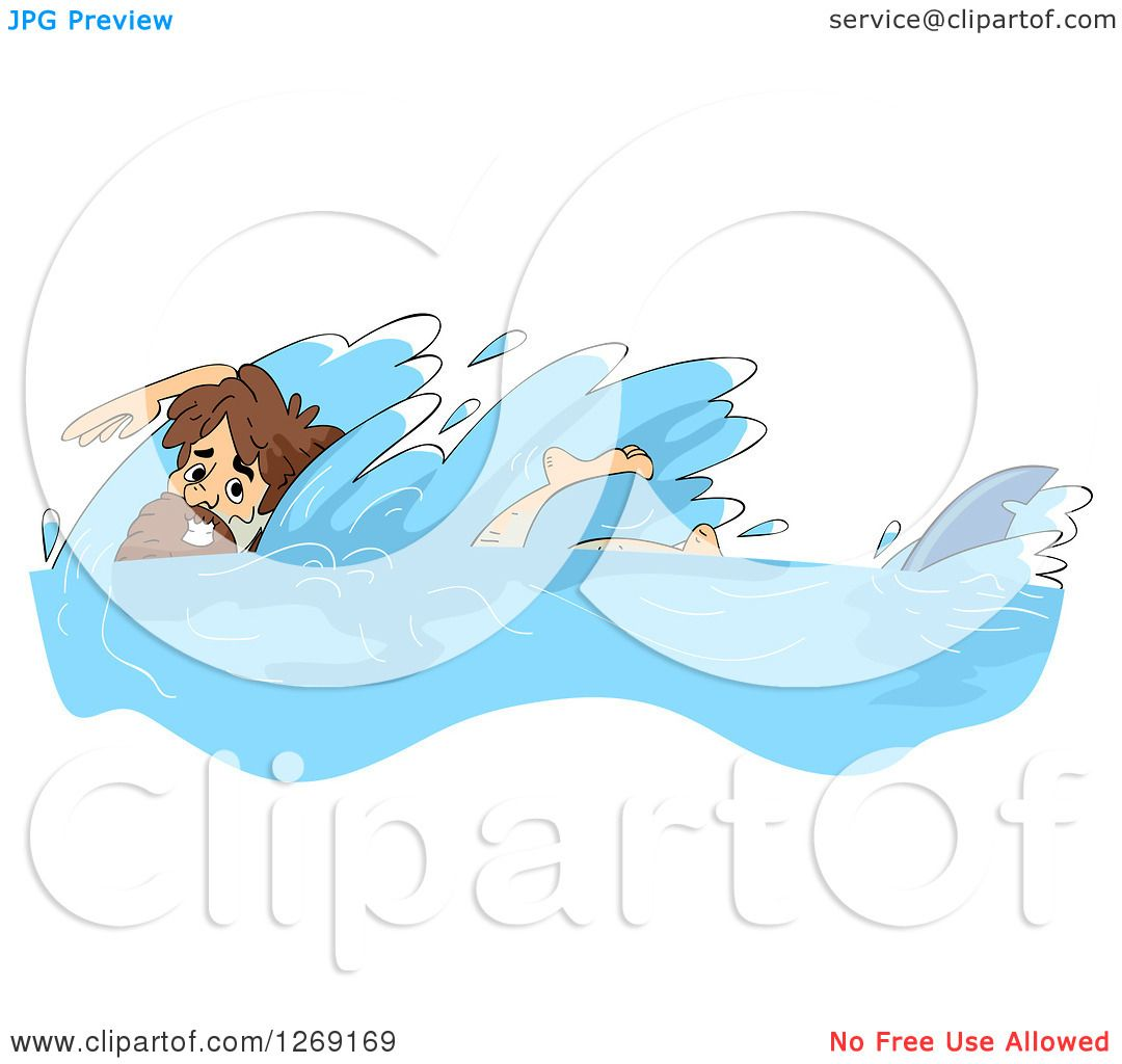 Clipart of a Castaway Man Swimming Away from a Shark.