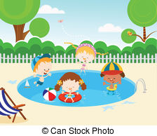 Kids swimming in sunny day illustration..