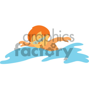 boy swimming vector illustration clipart. Royalty.