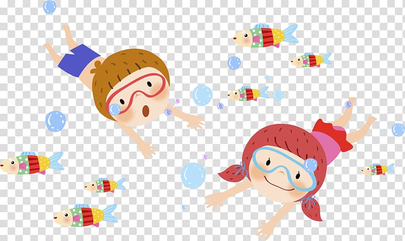 Boy and girl swimming with school of fish illustration.