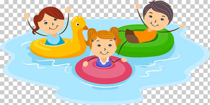 Swimming pool , Pool s, three children on floater.