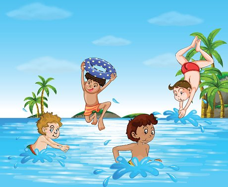 Boys swimming and diving in the sea Clipart Image.