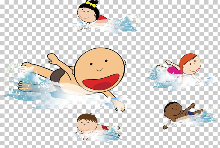 Beach Wind wave Swimming , Children swimming in the sea.