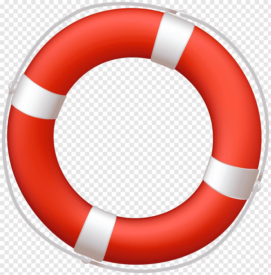 Orange and white inflatable swim ring illustration, Lifebuoy.