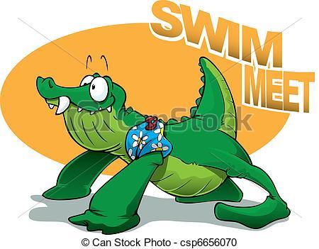 Vector Clipart of Crocodile Baby Swim Meet.