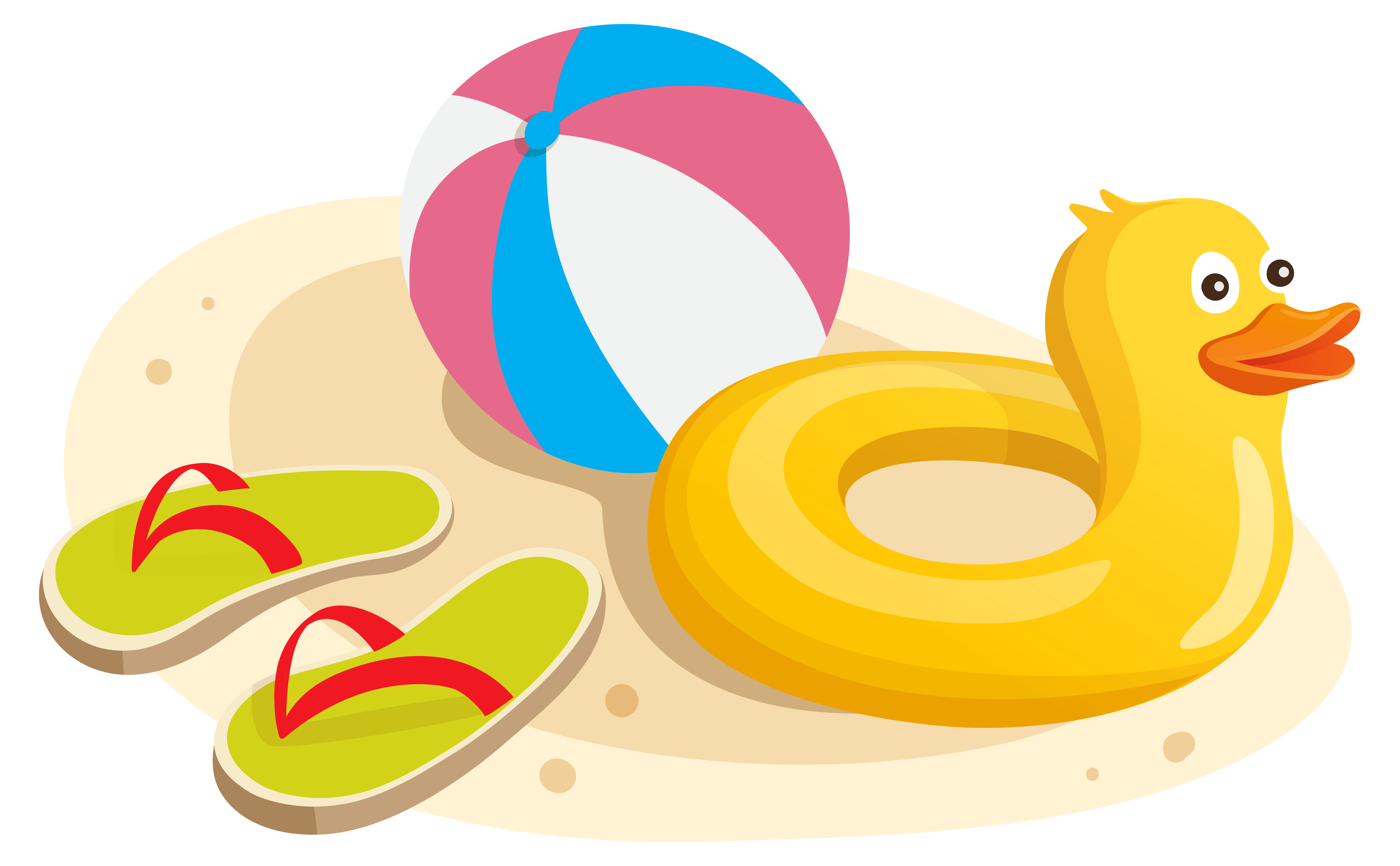 Duck Swim Ring Ball and Flipflops PNG Clipart Image.