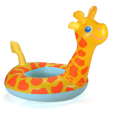 Cartoon Giraffe Seat Child Swim Ring Inflatable Boat Swimming Toy.