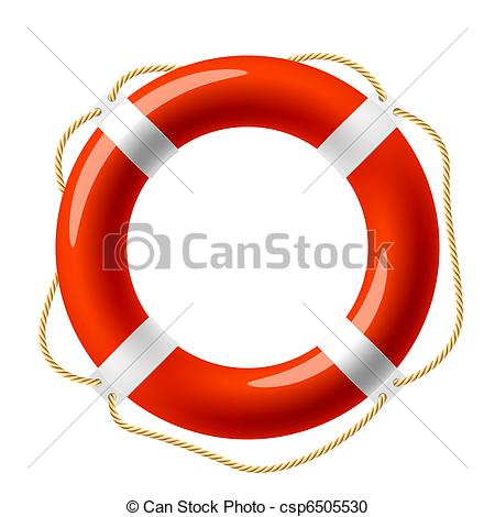 Vector Clipart of Red life buoy.