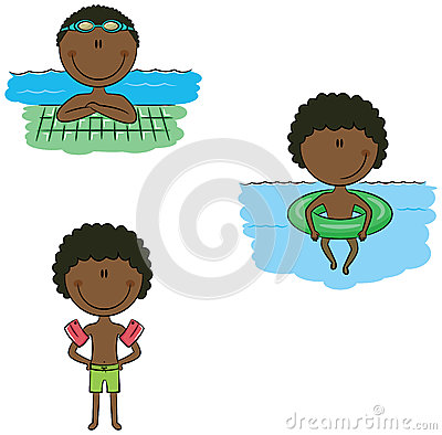 Cute Vector Swimmer Boys In Different Sport Situations Stock.