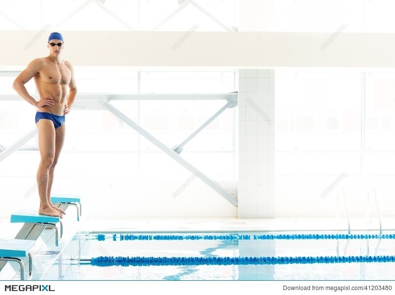 Swimmer Standing On Starting Block Stock Photo 41203480.