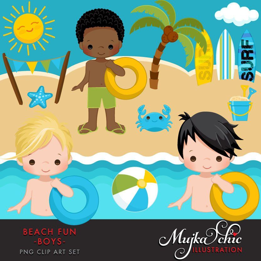 Beach Fun Clipart for Boys. Summer Cliparts, beach, swimming.