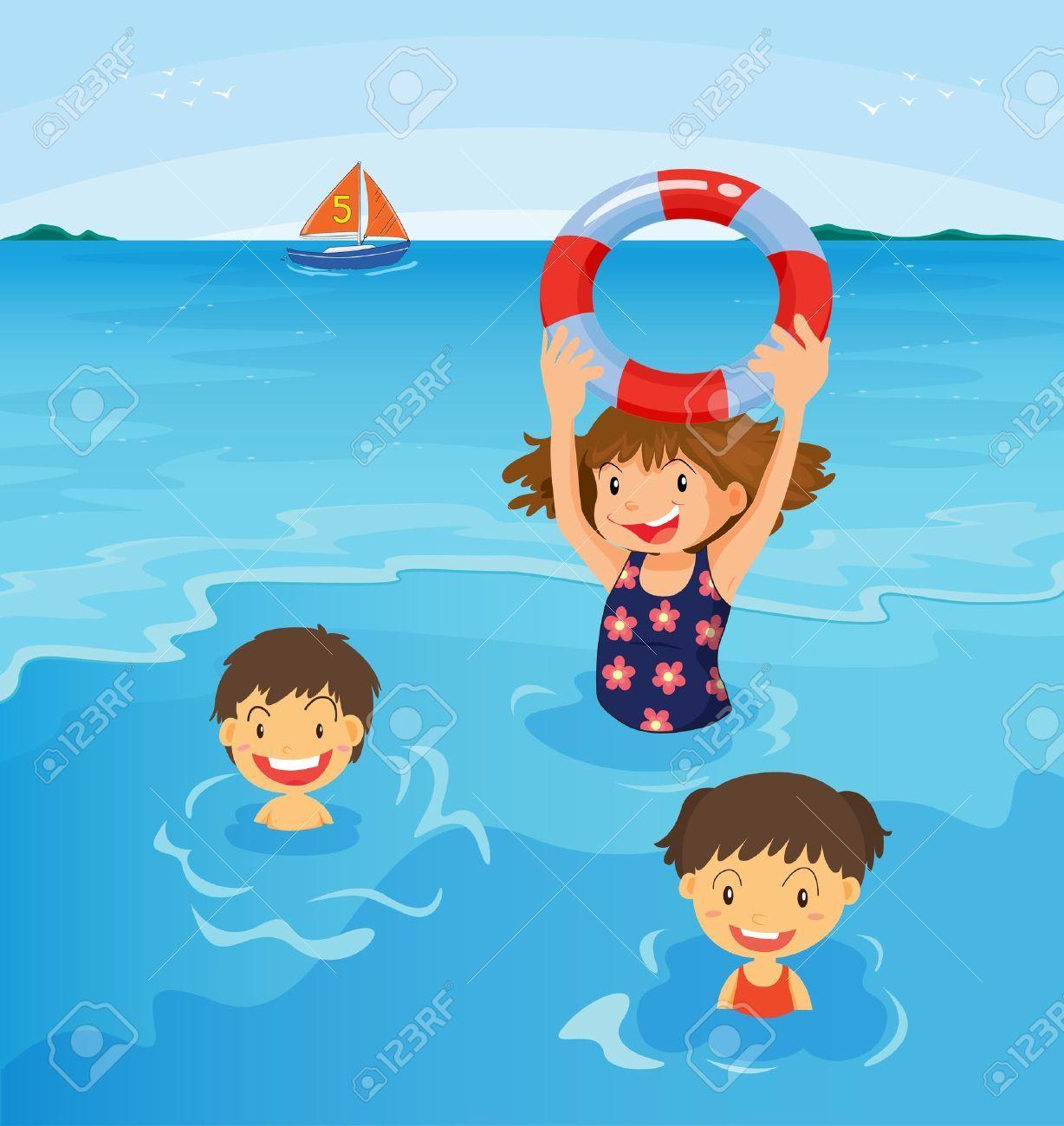 Children swimming at the beach clipart 5 » Clipart Portal.