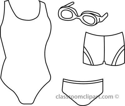 girl swimming clipart black and white #10
