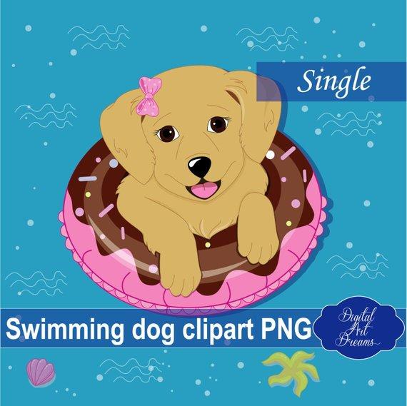 Swimming Dog Clipart, Cute Animals, Beach Clip Art, Donut.